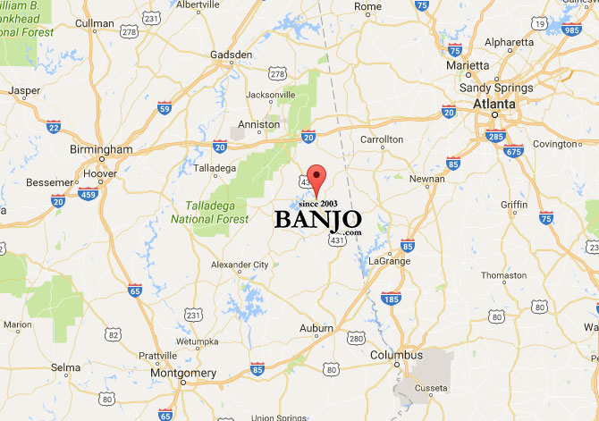 Map of Wedowee, Alabama showing banjo.com location